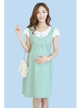 High-Waist Solid Color Button Front Maternity Dress
