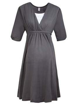 Sexy Elastic V-Neck Maternity Dress