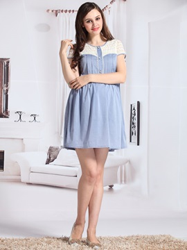Loose Fit Lace Short Sleeve Maternity Dress