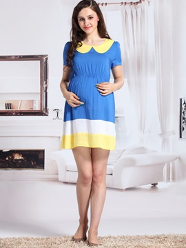 Loose Fit Breathable Doll Collar Maternity Dress