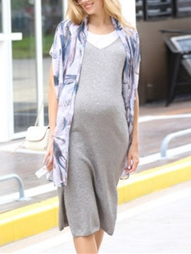 Pure Color Spaghetti Strap Side-Slit Maternity Overall