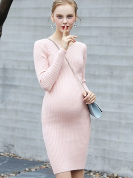 Elegant V-Neck Long Sleeve Maternity Sweater Dress