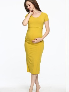 Solid Color Round-Neck Short Sleeve Maternity Dress