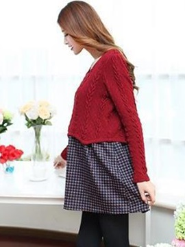 Elegant Knit Patchwork Maternity T-Shirt