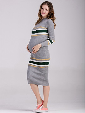 Cotton Blend Striped Over Knee-Length Maternity Dress