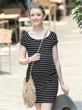 Casual Stripe Short Sleeve Maternity Dress