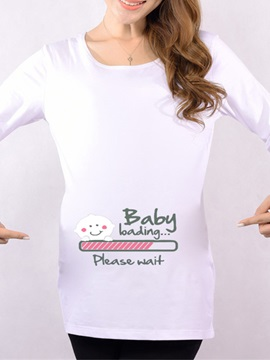 Crew-Neck Letters-Print Maternity T-Shirt