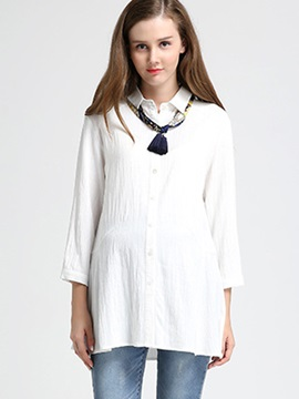 Elegant Button-Front 3/4 Sleeve Maternity Shirt with Scarf