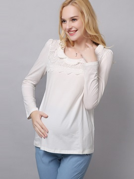 Stylish Lace-Trim Long Sleeve Maternity T-Shirt
