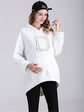 Chic Letter Decorated Pocket Maternity Hoodie