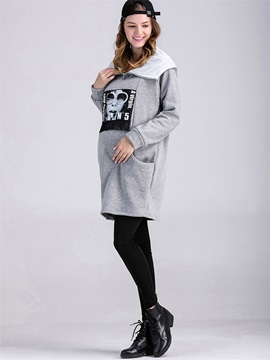 Simple Printing Pocket Decorated Maternity Hoodie