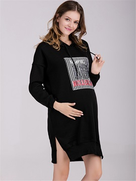 Chic Printing Side-Slit Maternity Hoodie