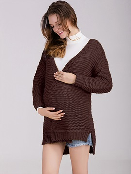 Solid Color Open-Front Maternity Cardigan