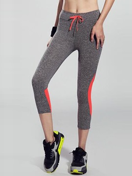 Contrasting Color Drawcord Women Running Tights