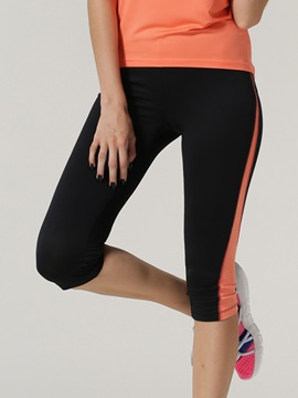 Polyester Color Block Women Running Capris