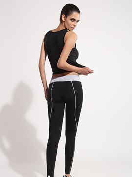 Polyester Color Block Tank And Black Yoga Pant