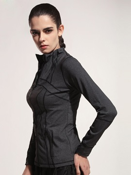Polyester Gray Full-Zip Women Active Jacket