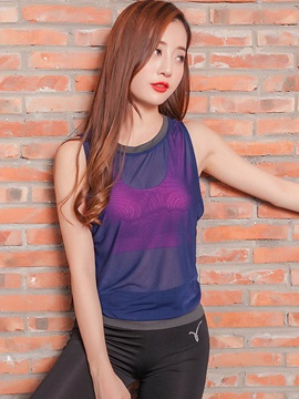 Polyester Round Neck Sleeveless See-Through Running Tank