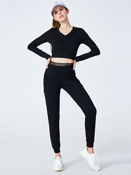 Cotton Anti-Sweat Patchwork Long Sleeve Running Set for Women