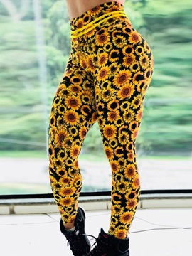 Breathable Sunflower Print Push Up Gym Sport Leggings Yoga Pants