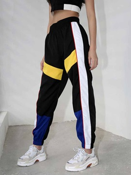 Color Block High Waist Sports Long Pants for Women