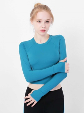 Quick Dry Plain Long Sleeves Half Sports Women