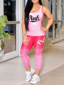 Print Letter Polyester Pullover Sleeveless Clothing Sets