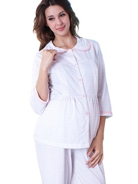 Elegant Lace-Trim Single-Breasted Maternity Nursing