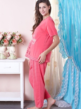 Simple Stripe Short Sleeve 2-Piece Maternity Outfit
