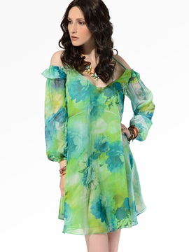 Clocolor® New V-neck Chiffon  Dress