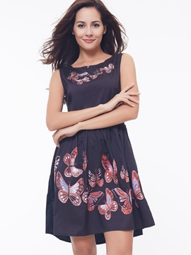 Round Neck Butterfly Print Day Dress