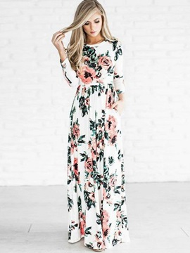 Scoop Long Sleeve Floral Print Women's Maxi Dress