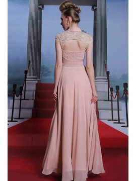 High-Neck Cap Sleeves Embroidery Floor-Length Evening Dress