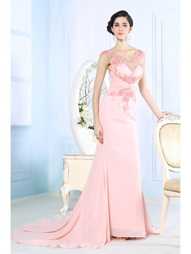 Mermaid Scoop Beading Appliques Evening Dress