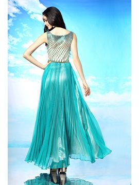 Dazzling Scoop Neckline Sequins Sash A-Line Long Prom Dress