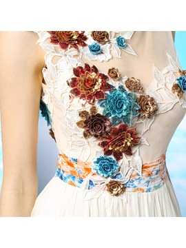 Tulle Neckline Floral Printed A-Line Lace Long Prom Dress