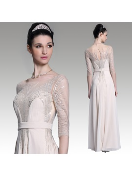 A-Line Tulle Neckline Sleeves Sequins Strap Evening Dress