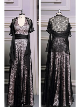 Vintage Lace Halter A-Line Long Evening Dress with Jacket