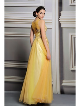 A-Line V-Neck Sequines Appliques Long Prom Dress