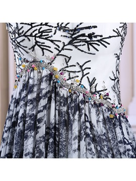 Unique Straps Sequins Beading Print Long Evening Dress