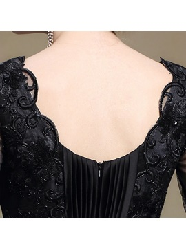 Vintage V-Neck Half Sleeves Appliques Pleats Long Black Evening Dress