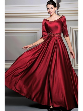 A-Line Scoop Neckline Half Sleeves Beading Floor-length Evening Dress