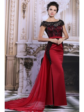 Gorgeous Cap Sleeves Lace Beading Colomn Watteau Train Long Evening Dress