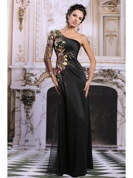 Graceful One Shoulder Long Sleeve Appliques Sequins Long Evening Dress