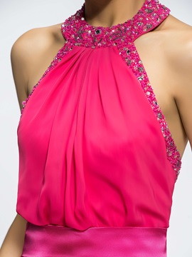 Bright Backless A-Line Halter Beading Short/Mini Bridesmaid Dress