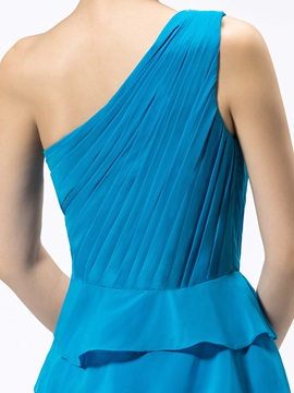 One-Shoulder Ruched Tiered Short/Mini Bridesmaid Dress
