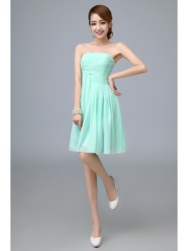 A-Line Strapless Ruffles Empire Pure colour Bridesmaid Dress