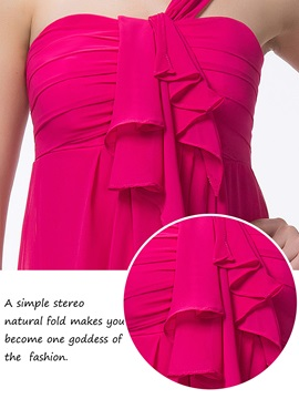 Enchanting One-Shoulder Ruffles A-Line Zipper-up Floor-Length Bridesmaid Dress