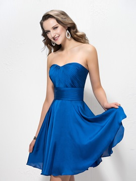 Simple Style Ruched Sweetheart A-Line Short Bridesmaid Dress