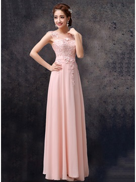 Lace Appliques Scoop Neck Floor Length Pink Chiffon Bridesmaid Dress